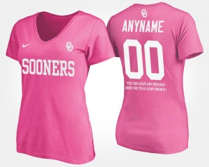 Oklahoma Custom T-Shirts T shirt With Message #00 Pink For Women Name and Number