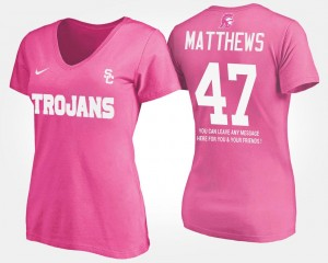 #47 Pink With Message Clay Matthews USC T-Shirt Name and Number Womens