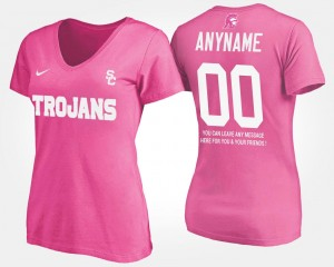 Name and Number T shirt With Message Trojans Custom T-Shirts Pink For Women #00