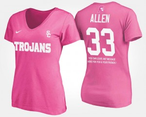Pink #33 Name and Number Ladies With Message Marcus Allen USC T-Shirt