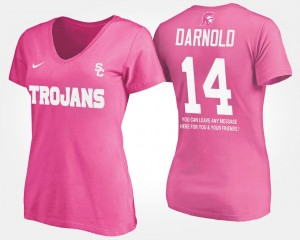Women's With Message #14 Name and Number Sam Darnold USC Trojans T-Shirt Pink