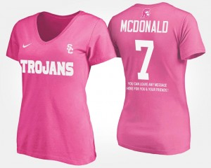 Pink Name and Number With Message T.J. McDonald USC T-Shirt Women #7
