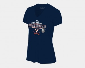 Navy Virginia Cavaliers T-Shirt Basketball Conference Tournament For Women V Neck 2018 ACC Champions Locker Room