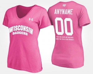 T shirt With Message Ladies Wisconsin Badgers Custom T-Shirts #00 Name and Number Pink