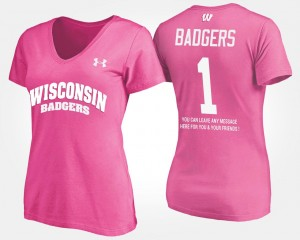Women #1 No.1 Short Sleeve With Message Name and Number Pink UW T-Shirt