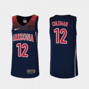 Youth Justin Coleman Wildcats Jersey #12 Navy College Basketball Replica