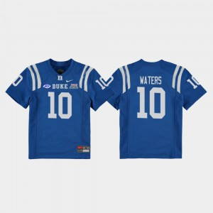 College Football Game Marquis Waters Blue Devils Jersey 2018 Independence Bowl Royal #10 For Kids