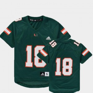 #18 Youth College Football Green Replica Adidas Miami Hurricanes Jersey
