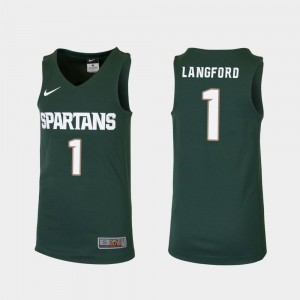 Joshua Langford Spartans Jersey Green Youth(Kids) Replica College Basketball #1