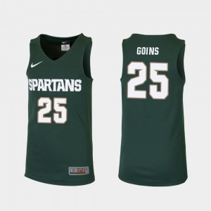 For Kids Replica Green #25 Kenny Goins Spartans Jersey College Basketball