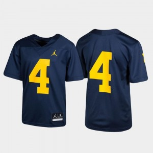 #4 Youth Untouchable Michigan Wolverines Jersey Football Navy