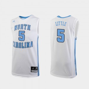 College Basketball Replica White Youth Nassir Little UNC Jersey #5