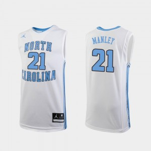 Youth(Kids) College Basketball Replica Sterling Manley North Carolina Jersey #21 White