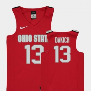 Andrew Dakich Ohio State Buckeyes Jersey Youth #13 College Basketball Red Replica