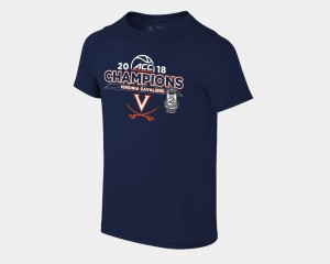 Youth Basketball Conference Tournament UVA Cavaliers T-Shirt 2018 ACC Champions Locker Room Navy