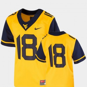 Mountaineers Jersey Youth #18 Team Replica Nike College Football Gold