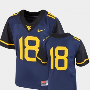 Team Replica Nike West Virginia Jersey College Football Navy #18 For Kids